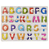 Mercures Best Gift ღ Kid Early ღ Wooden Alphabet Puzzle ABC Jigsaws Chunky Letters Early Learning Toys for Kindergarten and Toddlers-est Educational Toy Preschool Learning, Spelling, Count