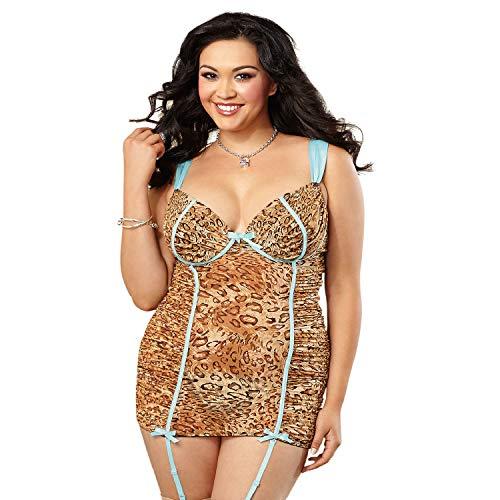 (Dreamgirl Women's Plus Size Flirty Exotic Leopard Mesh Garter Slip, 3X/4X)
