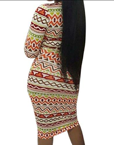 Midi Africano Immagine Floreale donne Matita A Coolred Come Dalla Maniche Del Vestito Curve Lunghe Navajo wanRXU