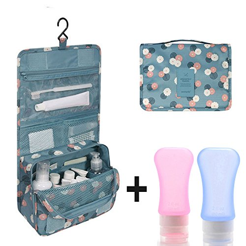Yarachel Portable Hanging Toiletry Bag - Waterproof Travel Organizer Makeup Cosmetic Bag For Household Storage, Trips Or Vacation & Soft Silicone Bottles Set (Blue Flower)