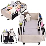 Costzon 3 in 1 Baby Bassinet Diaper Bag, Waterproof Oxford Portable Bassinet, Travel Changing Station with Fitted Sheet (Beige)