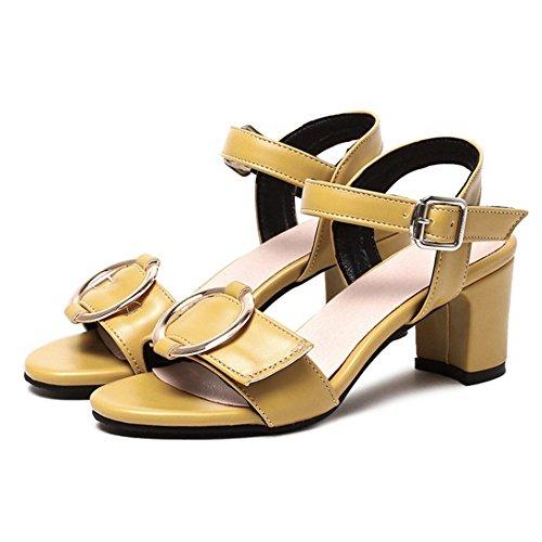 TAOFFEN Mujer Moda Punta Abierta Sandalias Tacon Ancho Tacon Medio Al Tobillo Zapatos Amarillo