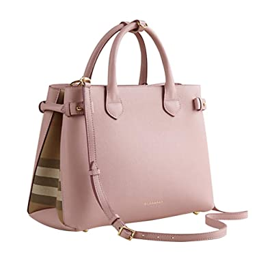Tote Bag Handbag Authentic Burberry Medium Banner in Leather and House Check  Pale Orchird Item 39970621 92916790d509b