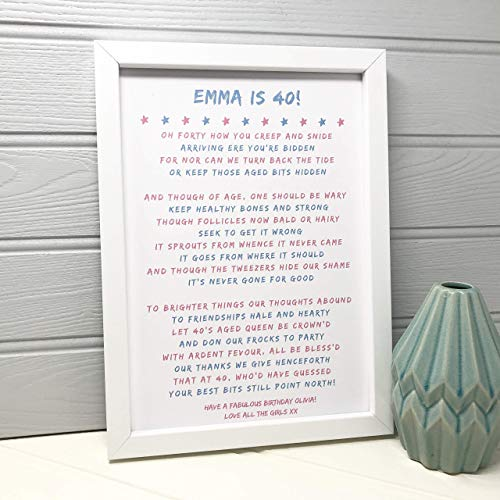 Personalised Funny 40th Birthday Gift For Her Poem FREE Personalisation Amazoncouk Handmade