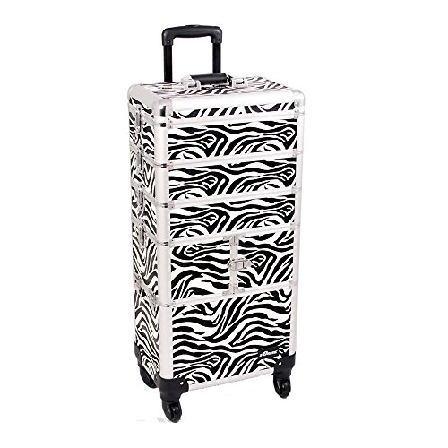 Sunrise I3364ZBWH Zebra 3 Tiers Accordion Trays Professional Rolling Aluminum Cosmetic Makeup Craft Storage Organizer Case and Stackable Trays with Dividers by SunRise