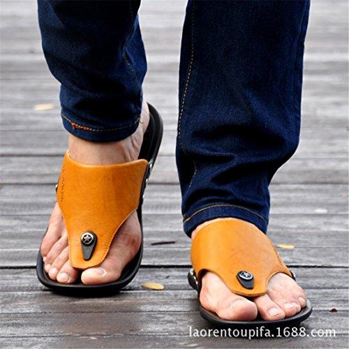Zapatillas Ocasionales De Cuero Al Aire Libre De La Playa Del Verano Para Hombre Del Cuero 79100 Amarillas
