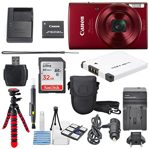 Travel Digital Camera - Canon PowerShot ELPH 190 IS Digital Camera (Red) with 10x Optical Zoom and Built-In Wi-Fi with 32GB SDHC + Flexible tripod + AC/DC Turbo Travel Charger + Replacement battery + Protective camera case