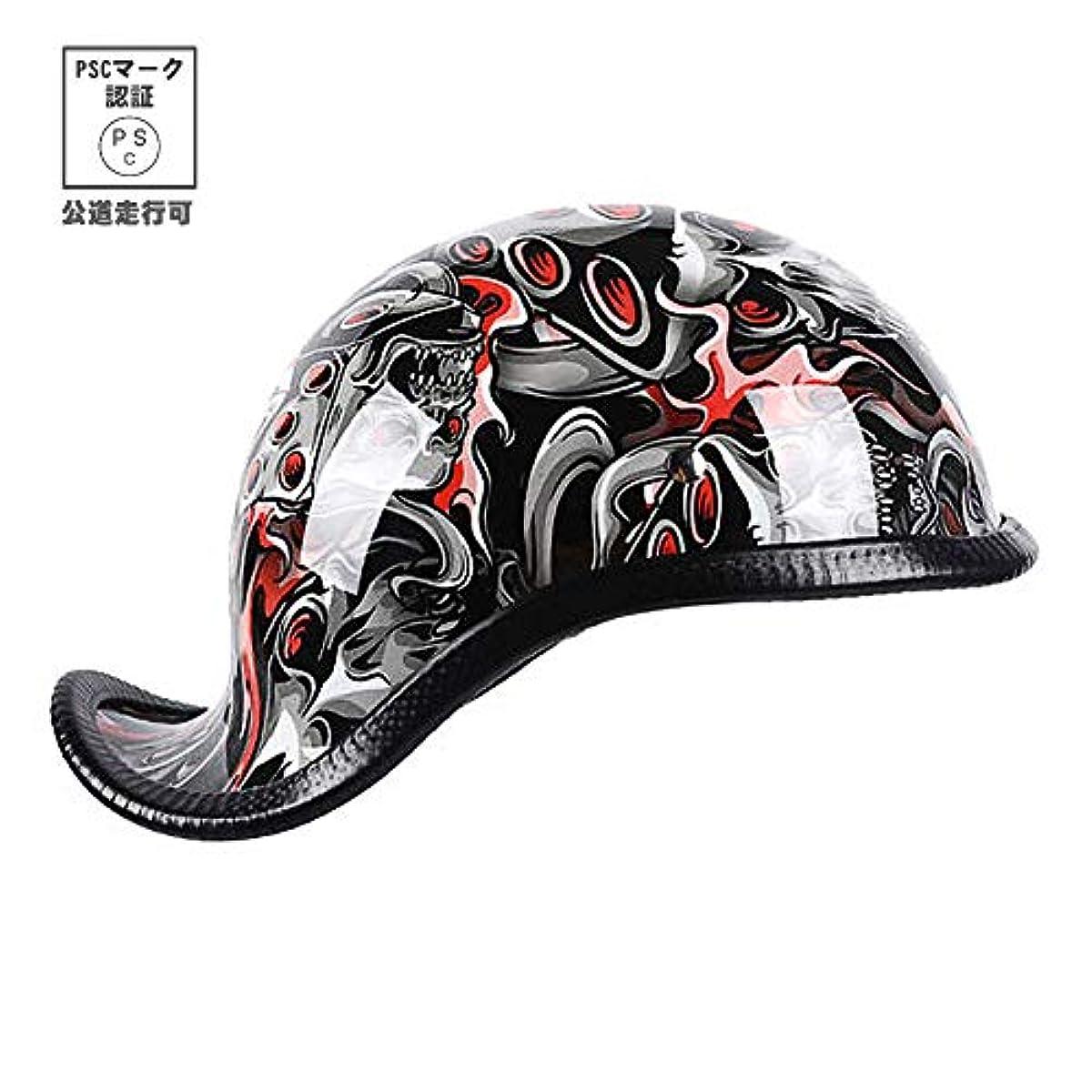 [해외] RAFERIAMYC 오토바이 헬멧 3D프린트반 모퍼터입 헬멧 덕 테일 헬멧 미국풍 오토바이 할리 헬멧 (레드 유령(A10), L (머리위 58CM~59CM미만))