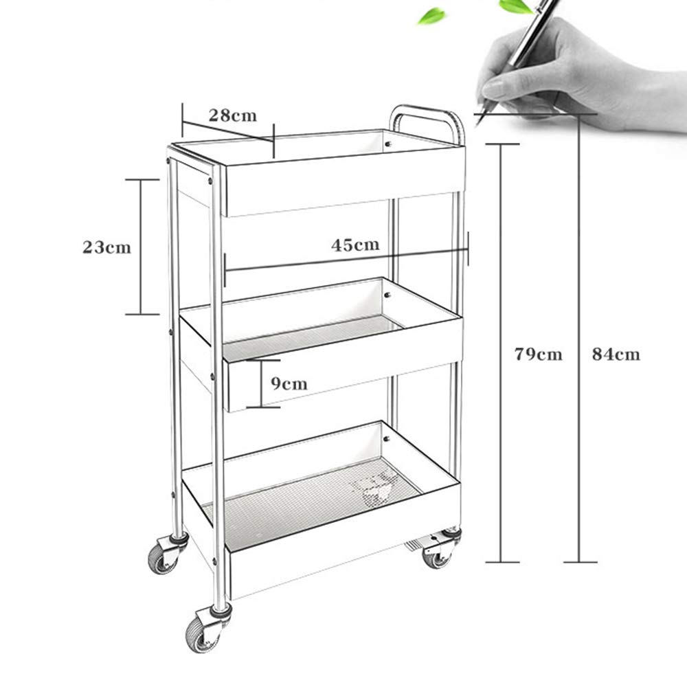 HUO Household Kitchen Storage Rack 3-Layer Storage and Finishing Cart Rack (Color : Coffee) by Kitchen shelf (Image #3)