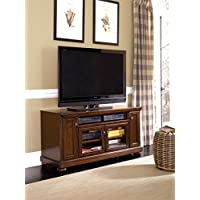 Porter W697-38 60 Large TV Stand Including 7 Shelves and 4 Doors with Adjustable Shelf Hole(s) for Wiring and Molding Detail in Rustic Brown