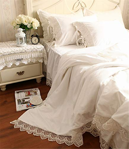 (Lotus Karen White Duvet Cover Bed Skirt and Shams Bedding Set Superior Cotton Elegant Crochet Lace Queen Size 4-Piece Princess Bedding for)