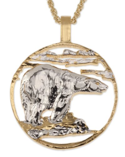 Polar Bear Pendant & Necklace, Private Mint Medallion Hand Cut
