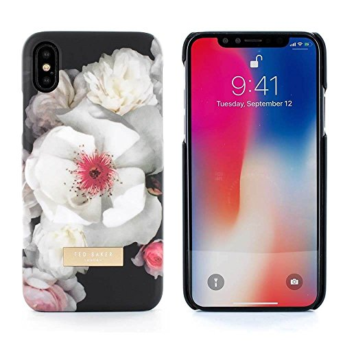 Official TED BAKER® KAMALA Fashion Branded Soft-Feel Shell for iPhone X, High Quality Premium Protective Wallet for Professional Women �?Chelsea (Black)