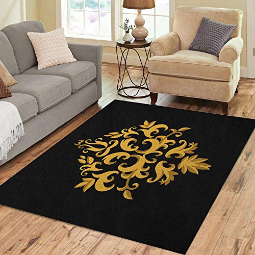 Semtomn Area Rug 5' X 7' Baroque Ornate Gold and Border Classic Contour Damask Floral Home Decor Collection Floor Rugs Carpet for Living Room Bedroom Dining Room