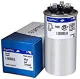GE/Genteq Capacitor round 40/3 uf MFD 370 volt 97F9473 (replaces old GE# Z97F9473, 97F9473BX, 97F9473BZ2, 97F9473BZ3), 40 + 3 MFD at 370 volts