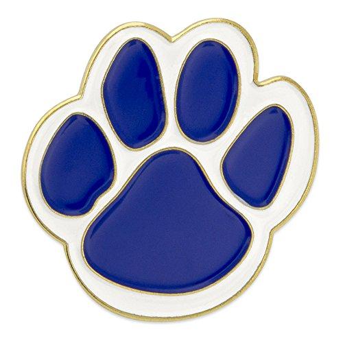 PinMart Blue and White Animal Paw Print School Mascot Enamel Lapel Pin ()