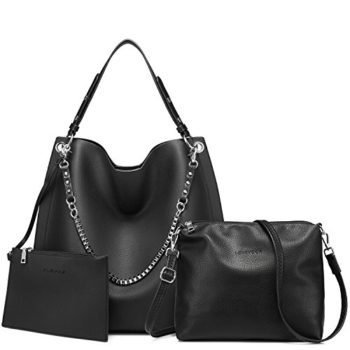 Womens 3 Piece Tote Bag Leather Handbag Purse Bags Set (Black) - 5