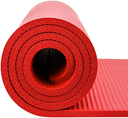 Amazon Com Reehut 1 2 Inch Extra Thick High Density Nbr Exercise Yoga Mat For Pilates Fitness Workout W Carrying Strap Red Sports Outdoors