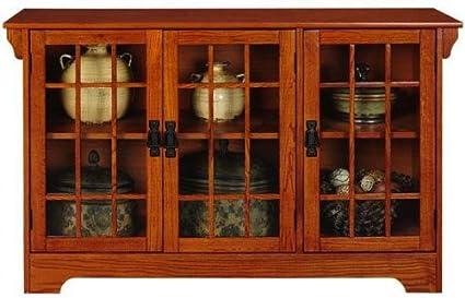 Craftsman 46u0026quot;w Three Door Lowboy With Glass Doors, THREE DOOR, ...