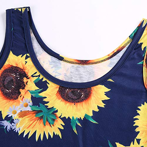 Starpromise Dresses for Women Work Casual Summer Sleeveless Sunflower Print Summer Beach A Line Casual Party