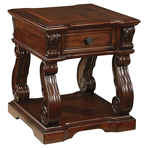 Traditional Square Top - Ashley Furniture Signature Design - Alymere End Table - Accent Side Table - Vintage Style - Square - Rustic Brown
