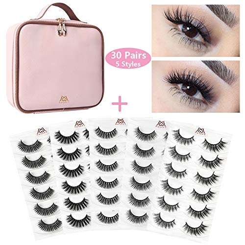 (MAGEFY 30 Pairs 5 Styles Fake Eyelashes 3D lashes Handmade False Eyelashes Set, 6 Pairs False Lashes Each Style with Portable Travel Makeup Bag (Pink))