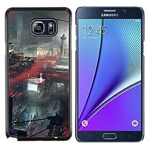 Caucho caso de Shell duro de la cubierta de accesorios de protección BY RAYDREAMMM - Samsung Galaxy Note 5 5th N9200 - Futuro apocalíptica ciudad de París