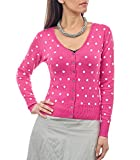 Woolovers Womens Silk and Cotton Spot V Neck Knitted Cardigan Cerise, XS