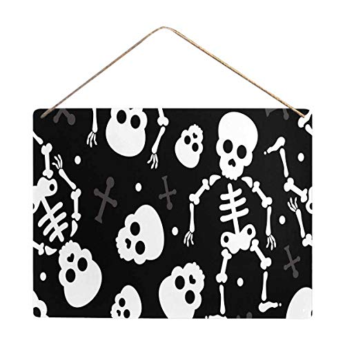 InterestPrint Death Skull Halloween Skeleton Metal Tin Sign Wall Hanging Decor Wall Art Printing 16x12 Inches -