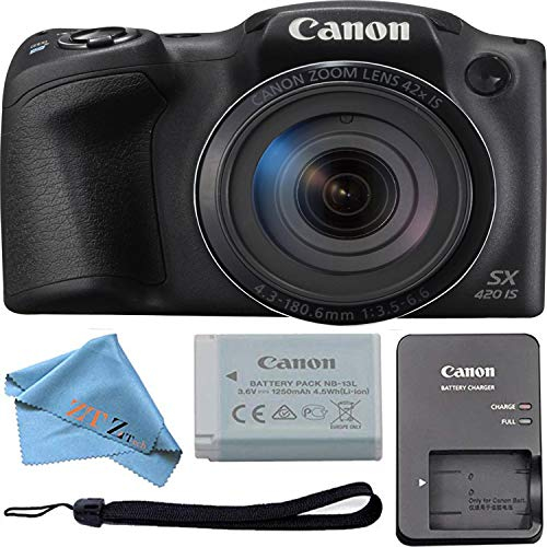 Canon PowerShot SX420 Digital Camera w/42x Optical Zoom – Wi-Fi & NFC Enabled (Black) ZeeTech Bundle (Cloth Only)