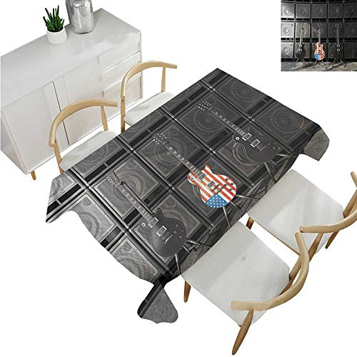 familytaste American Flag,Rectangular Table Cloth,Black and Us Bass Guitar Electronic Rock Music Theme Digital Graphic Work,Modern Washable Tablecovers 60