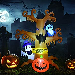 8 Foot High Halloween Blow Up Inflatables Dead Tree with White Ghost,Pumpkin and Owl for Halloween Yard Outdoor Decorations (Halloween Inflatables Ghost Tree with)