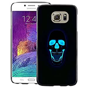 A-type Arte & diseño plástico duro Fundas Cover Cubre Hard Case Cover para Samsung Galaxy S6 (Neon Black Skull Water Rock Death Metal)