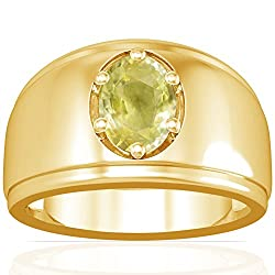18K Yellow Gold Oval Cut Yellow Sapphire Men's Ring