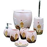 QiXian Pink Castle Bathroom Seven Piece Resin Bathroom Bathroom Set Washing Set Toilet Brush Bucket Trash Can Strong Sturdy
