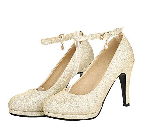 VogueZone009 Women's Buckle Blend Materials Solid High-Heels Pumps-Shoes Gold odUG0