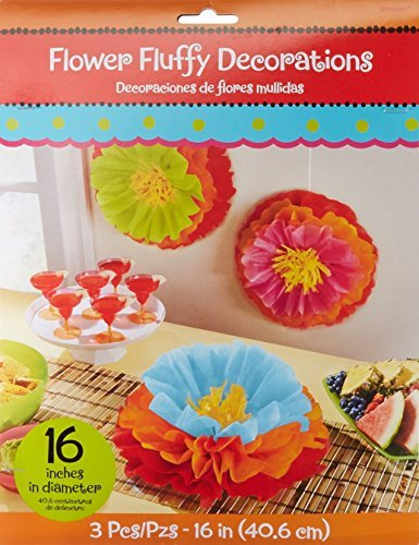 """Flower Filled (Fun-filled Fiesta Cinco de Mayo Party Fluffy Flower Decoration, Paper, 16"""" (6 Pack))"""