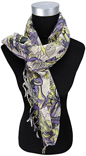 dames foulard en lila jaune gris avec papillon motif - taille de tissu 95 x 95 cm