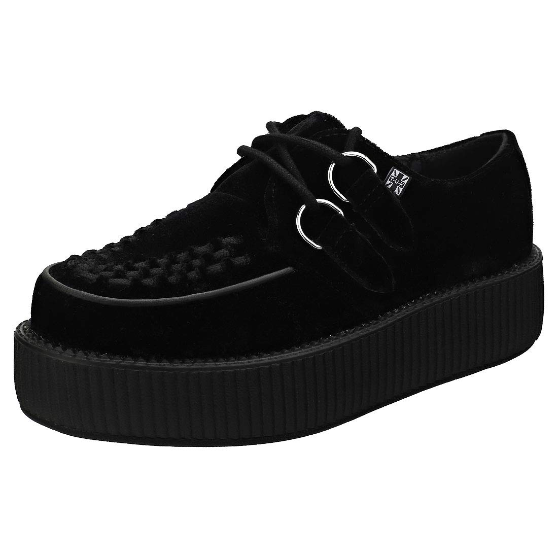 T.U.K Shoes Mens /& Womens Viva Hi Sole Creeper Black Suede With Black Interlace