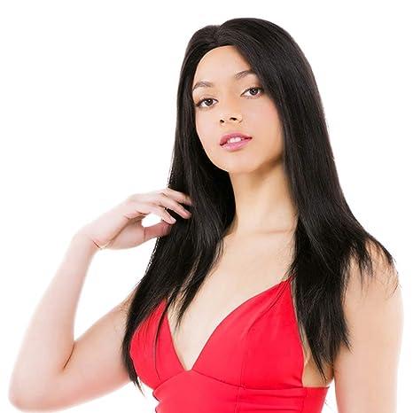 LUCAS Peluca de encaje frontal 100% pelo virgen brasileño de seda recta pre plucked con
