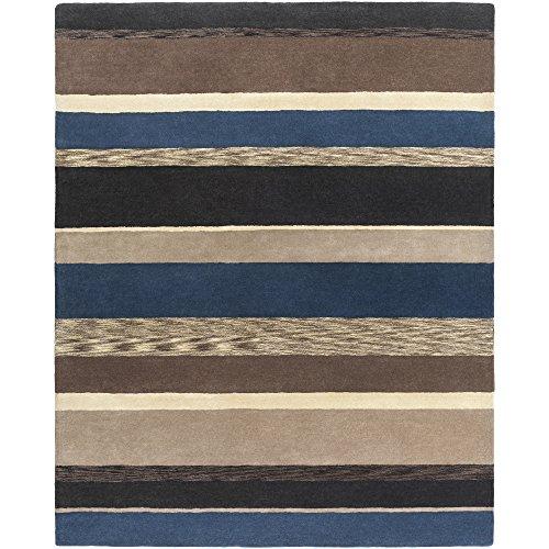 811 Black Olive - Surya SND4518-811 Sanderson Area Rug, 8' x 11', Ivory/Black/Charcoal/Navy/Taupe