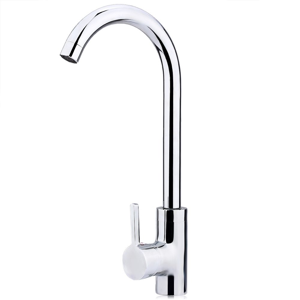 SGCRY Cold and Hot Mixer Faucet Copper Chrome Rotatable One Hole Single Handle Kitchen Faucet