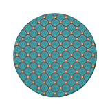 xtrac mouse pad - Non-Slip Rubber Round Mouse Pad,Yellow and Blue,Vintage Tile Pattern in Vibrant Colors Geometrical Mosaic Design Decorative,Aqua Hot Pink Yellow,11.8