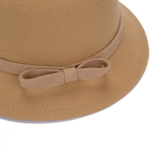 Color Camello Aikesi 1pcs Sombrero de Las Mujeres Sombrero del Arco Gorra de Fieltro algod/ón Suave oto/ño e Invierno Elegantes Sombreros del Jugador de Bolos