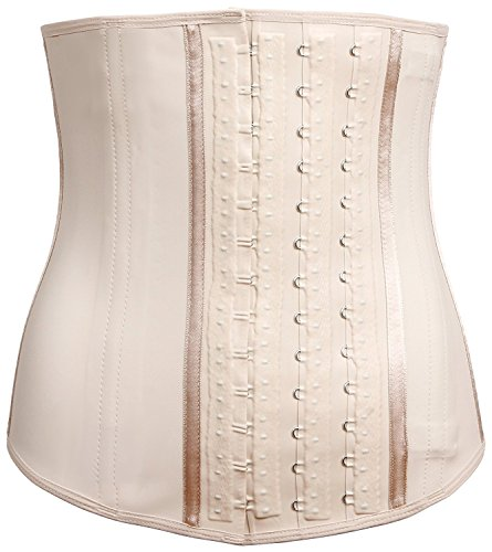 LadySlim by NuvoFit Fajas Colombiana Latex Waist Cincher Trainer Trimmer Corset Weight Loss Body Shaper Beige M