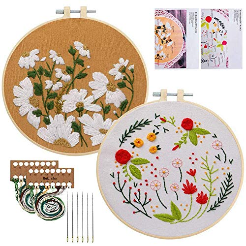 Embroidery Starter Kit with Pattern, Cross Stitch Kit Include Stamped Embroidery Clothes with Floral Pattern, Plastic Embroidery Hoops, Color Threads and Tools Needlepoint Kits (Daisy & Plant Flowers)