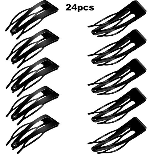 24 Pieces Rubberized Double Grip Black Hair Clips Metal Snap Hair Barrettes for Hair Making, Salon Supplies ()