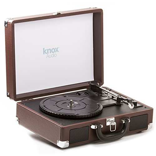 Knox Portable Turntable with Bluetooth, USB Drive, Built in Speakers & Rechargabable Battery - Brown (Turntables Drive Portable)