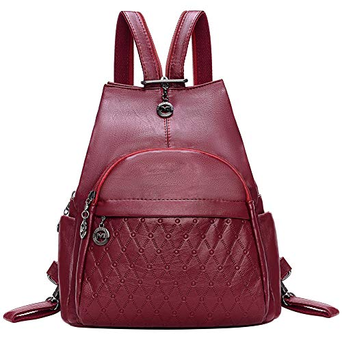 - Small Leather Convertible Backpack Sling Purse Shoulder Bag for Women (Red Wine 1)