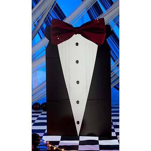 6 ft. 8 in. Small Black Tie Formal Standee Standup Photo Booth Prop Background Backdrop Party Decoration Decor Scene Setter Cardboard Cutout